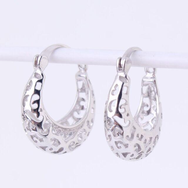 Engagement earring!18k white gold filled Snap Closure Stylish wedding  earring