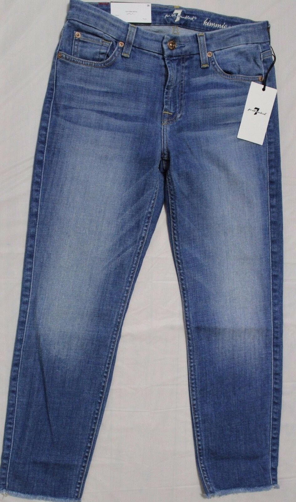 198 7 FOR ALL MANKIND KIMMIE FORM FITTED SKINNY CROP JEANS SZ 28