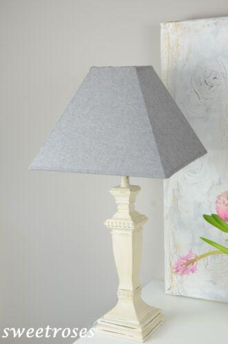 Lampenfuß Lampe Tischlampe Holz Shabby Landhaus Vintage Romantik Brocante Creme