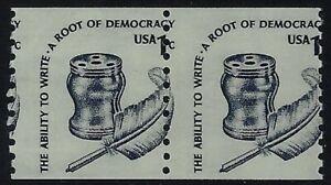 "1811 - 1c Misperf Error / EFO Pair ""Inkwell & Quill Pen"" Mint NH"