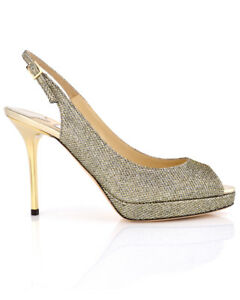 8d6f374b4eca NIB Jimmy Choo Bronze Lame Glitter  Nova  Pumps Authentic MSRP  750 ...