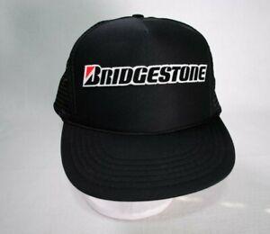 6dbccea82e6 Image is loading Vintage-Bridgestone-Trucker-Mesh-Snapback-Hat-Black-Unisex-