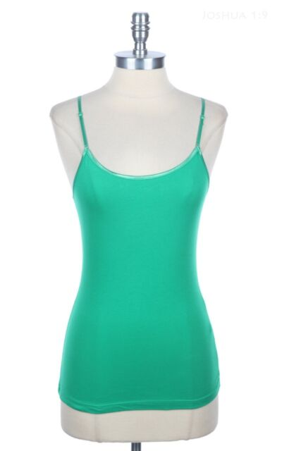 Solid Adjustable Spaghetti Strap Camisole Basic Plain Tank Top Cotton S M L