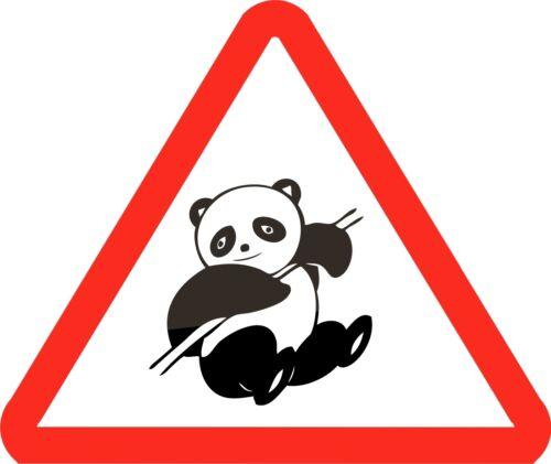 Panda Bear Route Signe Autocollant Décalque Graphique Vinyle Étiquette