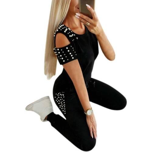 Womens Tracksuit Cold Shoudler T-Shirt Long Pants Casual Lounge Wear Suit