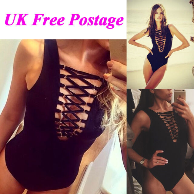 Women Ladies Front Plunge Lace up Tie Bodysuit Leotard Sleeveless Crop Top UK
