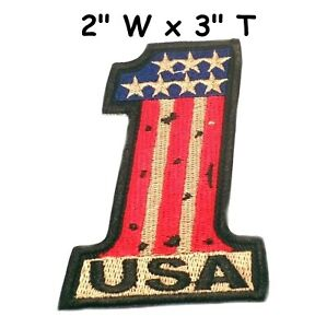 USA-1-EMBROIDERED-PATCH-AMERICAN-FLAG-ONE-PATRIOTIC-IRON-ON-United-States-Emblem