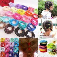 100Pcs Baby Kids Girl Elastic Hair Bands Ponytail Holder Head Rope Ties Hot UK