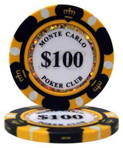 100pcs 14g Monte Carlo Poker Club Casino Poker Chips $500