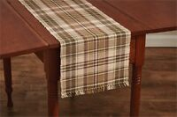 Country Thyme Table Runner 13x54 Burgundy Green Tan Ivory Plaid Ribbed Cotton