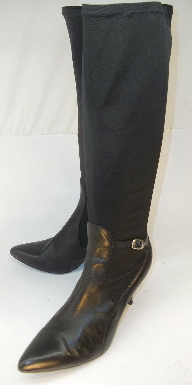 Nine West Womens Boots Knee High US7.5M Black Textile Leather Zip Buckle