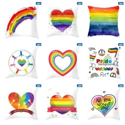 Rainbow Heart Pride Throw Pillow Cases LGBT Car Sofa Cushion Covers Home New