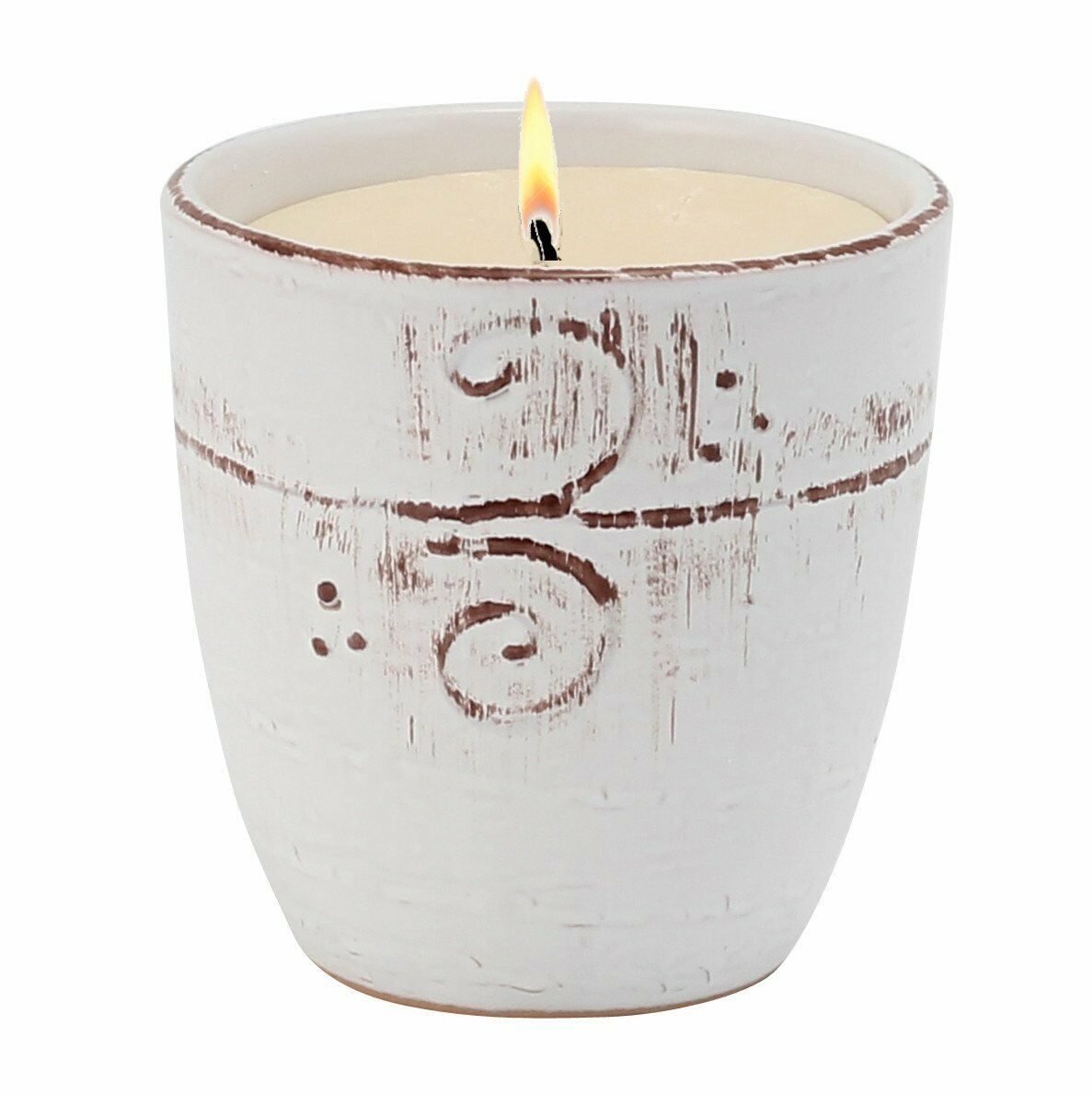 NATURA  Large Candle with bass relief tree branches motif hand finished in a whi