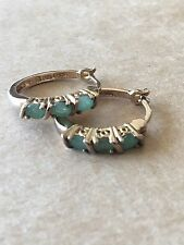 Small Hoop Earrings Gold Plate Over 925 Sterling Silver Simulated Emerald