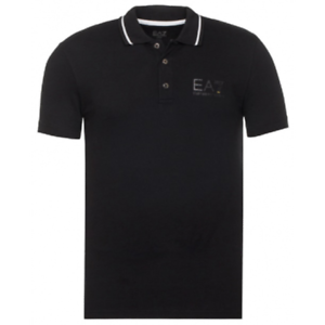 EMPORIO-ARMANI-mens-NEW-EA7-slim-fit-polo-t-shirt-top-black-cotton-with-collar