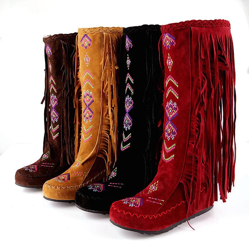Vintage Womens Fringe Tassels Embroider Floral Flats Knee High Boot BOHO shoes