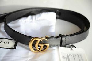 a8c9192c705 Auth GUCCI BLACK MARMONT 1.5 cm Belt GOLD MINI GG Buckle 90 36 fits ...