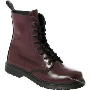 Boots And Braces Easy 8-Loch Cherry Rot Leder Stiefel Schuhe Red Oxblood Rosso