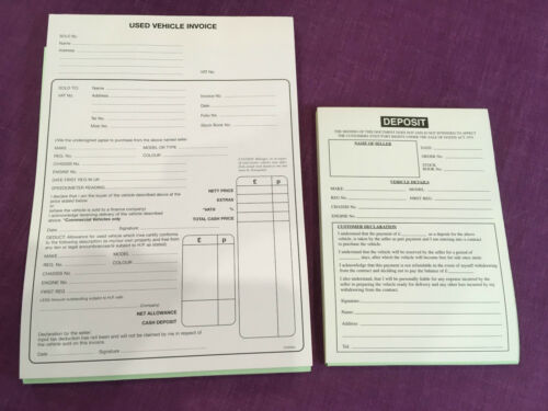 2 X USED CAR SALES INVOICE PADS 1 X DEPOSIT PAD FOR ALL TYPES OF MOTOR VEHICLES