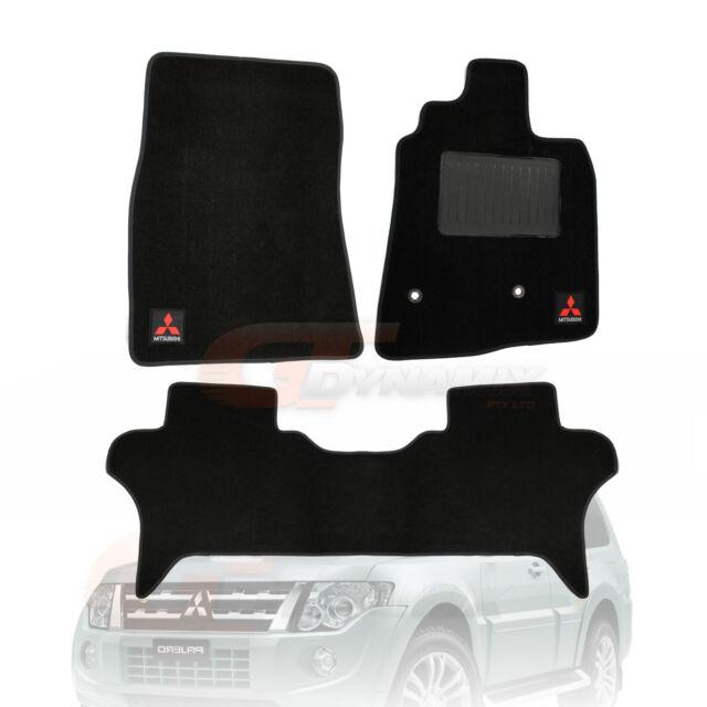 Mitsubishi Pajero BLACK Custom Made Floor Mats F+R 2006 to 2017 NS NT NW NX