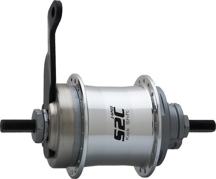 Sturmey-Archer S2C Kick-Shift HUB Kit 36 H 116 mm Plateado con freno de montaña