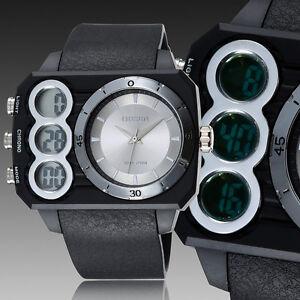 OHSEN-Mens-Aviator-Style-Date-Water-Proof-White-Dial-Digital-Quartz-Wrist-Watch