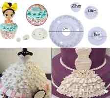 DIY Fondant Cake Lace Skirt  Mold Cutter Sugarcraft Paste Plastic Mold Tool 4Pcs