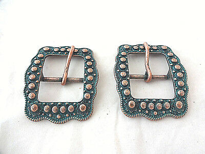 """Pair Berry Belt Buckles Turquoise Copper 3//4/"""" Horse Western Tack Weaver Leather"""