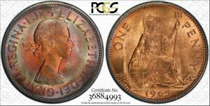 1965-Great-Britain-UK-One-1-Penny-PCGS-MS64RB-Color-Toned-Only-1-Graded-Higher
