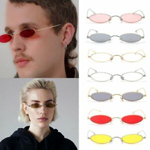41b6f86468 Women Small Oval Sunglasses Fashion Metal Frame Men Clear Red Lens ...