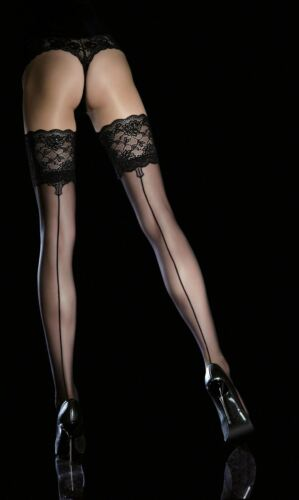 Fiore LEYLA Sensuous Sheer Lace Top Hold-Ups Stockings 20 Den New Size S M L