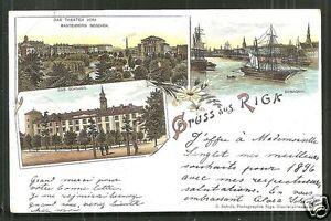 Gruss aus Riga Art Nouveau litho Theatre Russia Latvia 1895 !