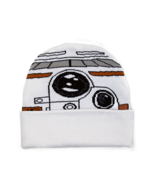 OFFICIAL STAR WARS BB-8 COSTUME STYLED WHITE CUFF BEANIE HAT (NEW)