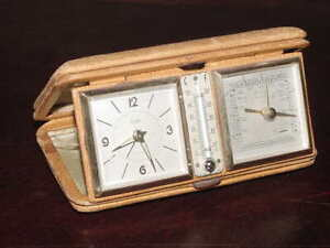 Elgin-Travel-Alarm-Clock-Barometer-Thermometer-Leather-Case-Germany-NOT-Working