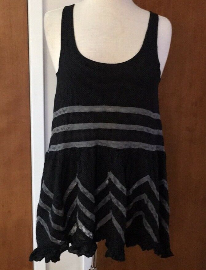 Intimately Free People Tank Top Small schwarz Lace Ruffle