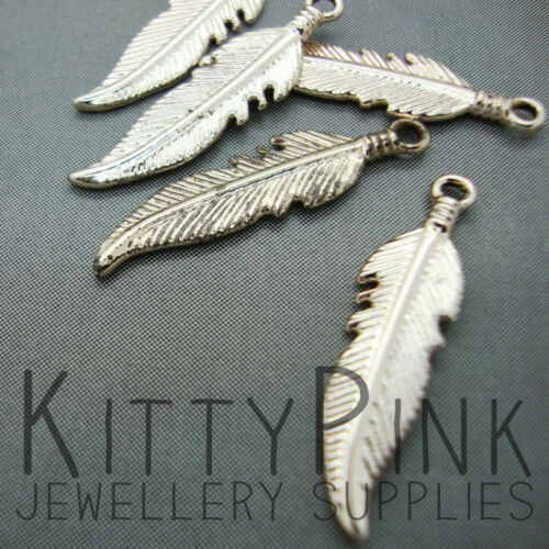 5 Gold Plated 26mm x 7mm Feather Jewellery Charm Pendants