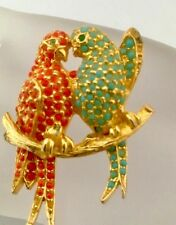 Pauline Rader Coral And Turquoise Colored Stone Love Birds Pin
