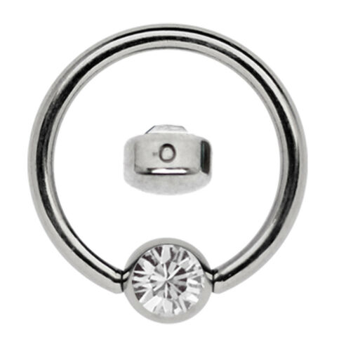 Titanium Piercing Ring Bcr 1,2mm with Flat 3mm Klemm-Cubic Zirconia Plate Size
