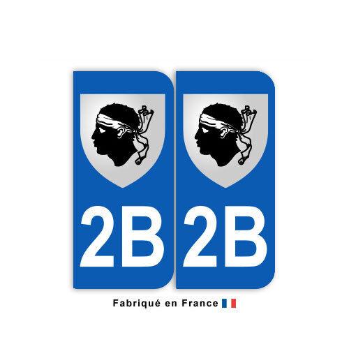 Stickers pour plaque département 2B Haute-Corse blason jeu de 2 stickers