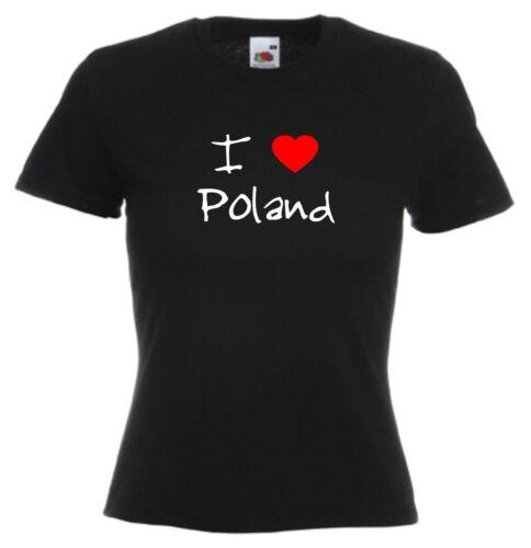 I LOVE coeurs Pologne Mesdames montés T-shirt