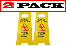 Set Of 2 Jl Englishampspanish Wet Floor Sign Bright Yellow Plastic