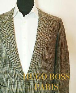 Vintage-Hugo-Boss-Paris-Tweed-Wolle-Kaschmir-Sport-Mantel-Hahnentritt-38-48