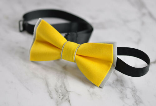Father Son Match 100/% Cotton Handmade Yellow and Grey Bow Tie Bowtie Wedding