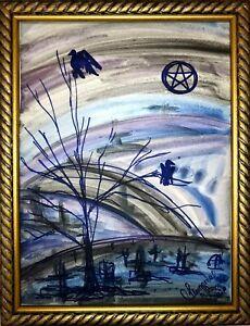 Margarita-Bonke-Malerei-art-Bild-hexe-pentegramm-magie-friedhof-zeichnung
