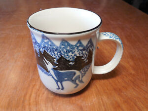 Tienshan-Folk-Craft-WOLF-Mug-3-3-4-034-Blue-Black-Sponge-1-ea-4-available