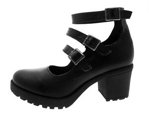 a724c487c8c5 Details about Kids Girls Mary Jane Block Heel Platforms School Smart Party  Shoes Size UK 12-5