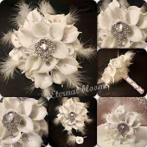 Bouquet Sposa Natale.Bouquet Da Sposa Lily Rose Natale Inverno Piume Spilla Sposa Nozze