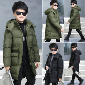 Kids Boys Fur Hooded Coat Down Quilted Jacket Outwear Winter Padded Long Parka