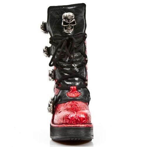 Femmes Gothique Rock s4 Vintage Rouge 8366 Talons New Hauts M Bottes Fleur Chaussures Bottes Pour ZSTqwYPx