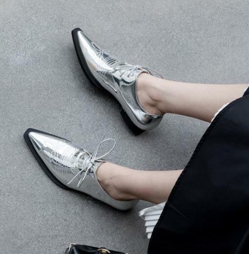Sexy Bout Pointu chaussures de cette dame punk ado chaussures à Lacets Mocassins faible-hee F103